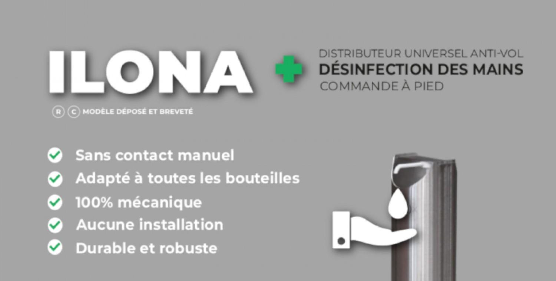 Borne distributeur désinfection des mains en acier inoxydable